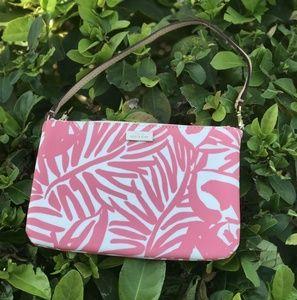 Kate Spade Vinyl Floral Palm Print Wristlet Pink